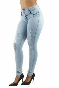 Women's Juniors, Butt Lift, Push Up, Mid Waist, Ripped Distressed Skinny Jeans