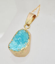 DRUZY Drusy Raw Crystal Oval Drop Pendant Bead Natural Gemstone Gold Necklace