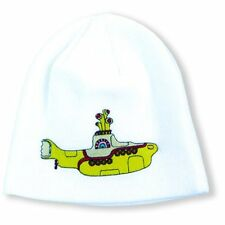 The Beatles White Cotton Beanie Hat Yellow Submarine Band Logo Lennon Official