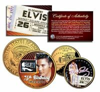 ELVIS PRESLEY Indiana Quarter and JFK Half Dollar 2-Coin Set OFFICIALLY LICENSED