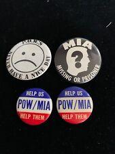 Vintage Pow Mia Prisoners Of War - Military - Pinback Pin Button - Lot of 4