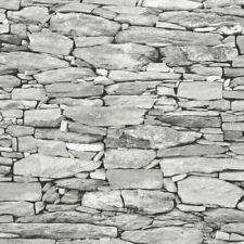 Light Grey Stone Wallpaper Realistic 3D Effect Natural Wall Design 1283