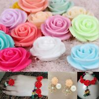 20pcs Gorgeous Rose Flower Coral Resin Spacer Beads, 10Colors -  10MM