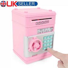 Digital Electric Piggy Bank ATM Cash Machine Coin Notes Money Saving Box Pink UK