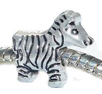 Zebra Safari Trip Zoo Wild Animal Africa Spacer Charm for European Bracelets