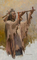 """The Sacred War Pipe "" Z. S. Liang Western Fine Art Smallwork Giclee Canvas"