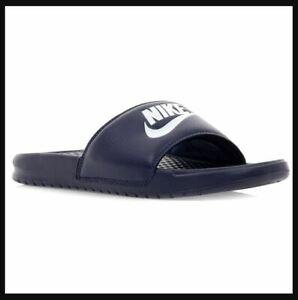 Men's Nike BENASSI JDI Navy Slides Beach Pool Slip On Sandals, Style# 343880-403