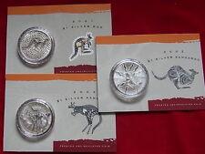 Australia. 2001, 2002 & 2003 : 1oz  Silver Kangaroo ($1).  UNC/BU In Cards