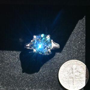 Stunning 4.85 Carat Maui Estate Ring!  Intense-Blue 100% Genuine MOISSANITE