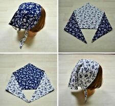 Vintage 60s 70s Triangle Head Scarf Kerchief Blue White Floral Reversible Boho