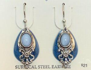 SILVER FOREST BLUE SILVERTONE SURGICAL STEEL EAR WIRE DROP DANGLE EARRINGS