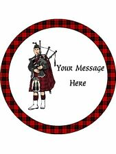 """Novelty Personalised Scottish Piper  7.5"""" Edible Wafer Paper Cake Topper"""