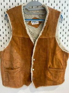 Vintage Mens Gilet Large Leather Distressed Tan