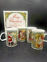 4 Vintage Dunoon Scotland Victorian Santa Print Christmas Coffee Mugs Cups w/Box