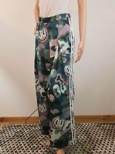 Adidas Women Smiley Track Fashion Pants S Green Multi Wide Leg White Side Stripe