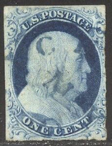 U.S. #9 Used - 1c Blue, Type IV ($90)