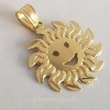 Round 14k Yellow Gold sun shine happy face  Pendant Charm .80 inch long