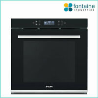 Salini Oven Black Glass Chrome Electric 65L Self Cleaning Fan Forced LED NEW