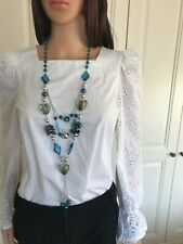 Long Necklace Turquoise & Green Beads & Glass Hearts Adjustable Length