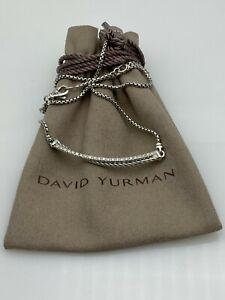 "David Yurman Sterling Silver Crossover Bar Pendant Necklace with Diamonds 16-17"""