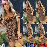 Womens Sexy Low Cut Leopard Bodycon Mini Dress Ladies Short Sleeve Party Dresses