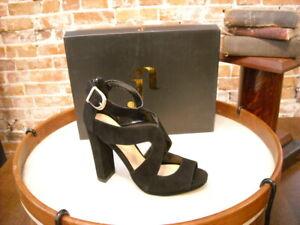 June Ambrose Theme Black Suede Freda Sandal 6.5 New
