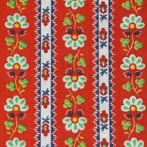 """1 Yard Repro Fabric 43"""" Wide x 36""""  Great Vintage Print!  Red Green White Blue"""