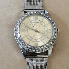 Geneva Silver Women's Crystal Watch Silver Round Dial Silver Mesh Style Band New