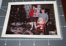 Girl w/ DROWSY DOLL Toy Box Booby Trap GAME Christmas Vintage Snapshot PHOTO