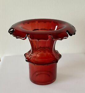 Glasvase, Jugendstil, rot, 20,5 cm, alt