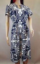 Vintage Betty Hartford Dark Blue White Dress Size S/M Polyester Short Sleeves