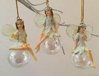 3x Iridescent Fairy Christmas Tree Decorations Gisela Graham Vintage Bauble Ball