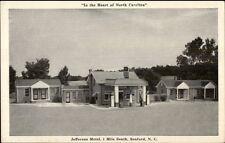 Sanford NC Jefferson Motel & Gas Pumps Postcard