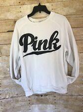 Victoria's Secret PINK White Black Varsity Kangaroo Pocket Crew Sweatshirt S