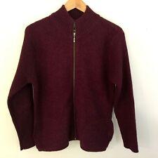 Field Gear Women's Wool Sweater Jacket Size S Burgundy Full Zip Padded Elbows