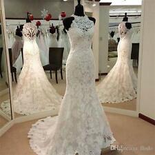Custom White/Ivory Lace sleeveless Mermaid Bridal Wedding Dress 4-6-8-10-12-14++
