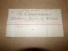 1885 T.V. Knatvold Hardware Stoves & Tinware Albert Lea Minnesota Letterhead