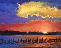 Twilight Over The Inlet Original Impressionist Oil Painting Wall Art