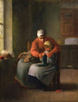 Jean-Francois Millet The Knitting Lesson Wall Art Print on CANVAS Giclee Small