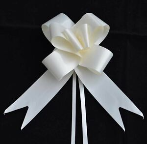 10 x 50mm Large Pull Bows Ivory Satin Ribbons Wedding Gifts Wrap Car Decorations
