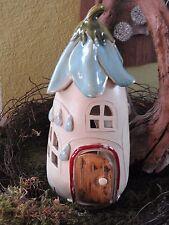Keramik Windlicht Haus  creme blau Weihnachten Advent Pilz Dekoration Handarbeit