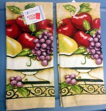 """2 SAME PRINTED KITCHEN TOWELS (15"""" x 25"""") FRUITS by AM, cotton"""