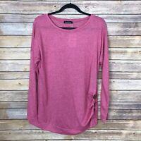 Anicco Womens XL Scoop Neck Tee Dolman Sleeve Top Lightweight Solid Pink Buttons