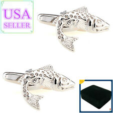 Hot Sale Men Cufflinks Jumping Fish Cuff Links With Gift Box