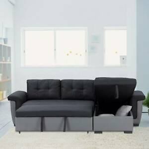 BLACK Corner Sofa Bed with Storage, Black Fabric+Grey Leather. Very COMFORTABLE!