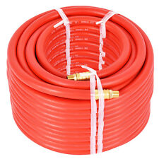 """100Ft 3/8"""" Rubber Air Hose 300 PSI 1/4 Inch NPT Brass End For Air Compressor New"""