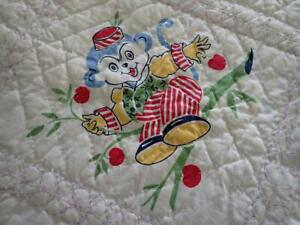Vintage 50s Printed Baby Animals Blue & White Crib Quilt 56x40