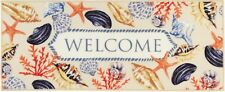 "EXTRA LONG KITCHEN RUG RUNNER (nonskid) (20"" x 48"") CORAL & SHELLS, WELCOME"
