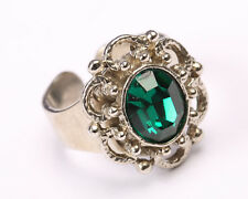 Silver Tone Ring with Green Crystal, Vintage 1950s, Size O