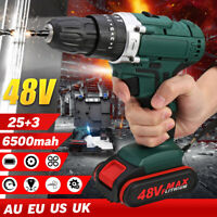 48V Electric Power Cordless Drill Woodworking Tool Hammer Rechargeable+Battery